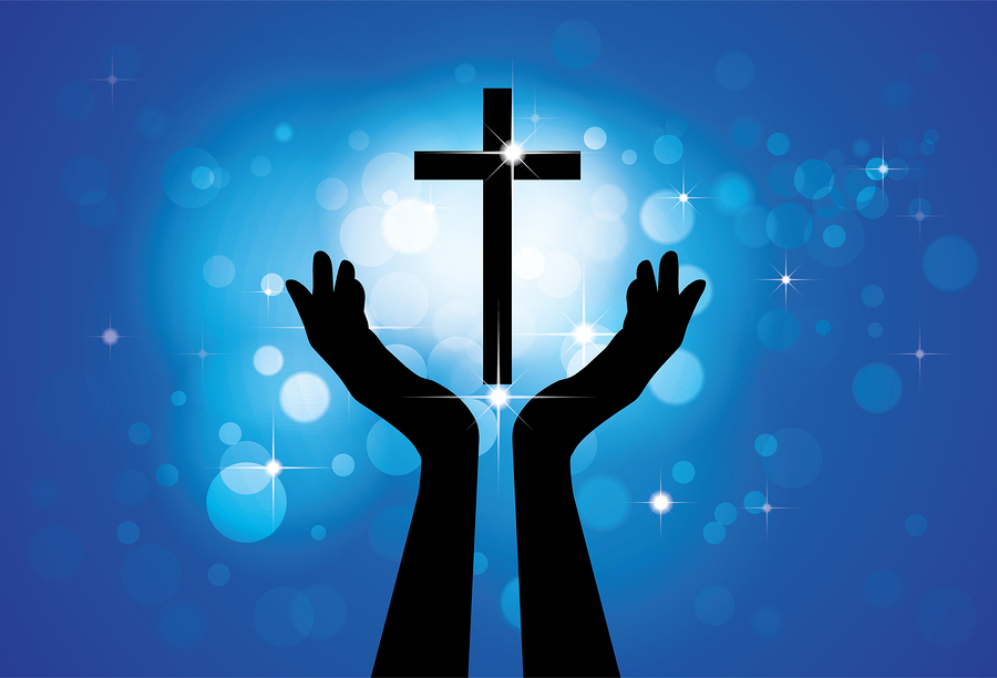 Person praying or worshiping to holy cross or Jesus - vector graphic concept of a devout faithful christian worshiping Son of Lord(Christ) with blue background of stars and circles