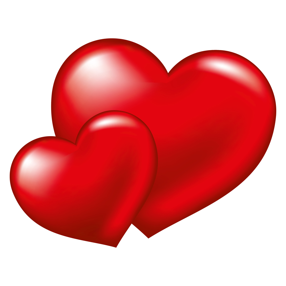 Two red heart, symbol of love, excellent vector element for your design on Valentine's Day